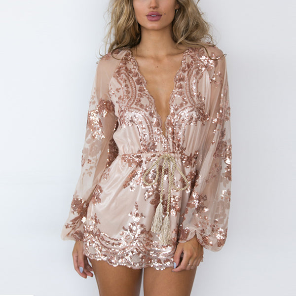 Women Deep V Sequin Playsuit Women Tassel Short Summer Beach Club Elegant Rompers