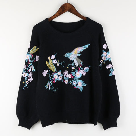 2018 High Quality Spring New Fashion Embroidery O-neck Long Puff Sleeve Knitted Sweater