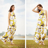 Womens Summer Long Beach Dresses Multicolor Floral Print Sleeveless Maxi Dress