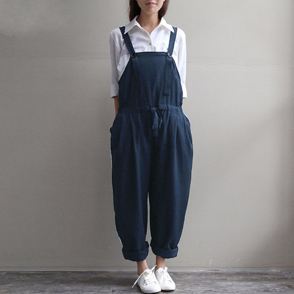 Womens Jumpsuit 2018 Summer Autumn Casual Loose O Neck Sleeveless Vintage Jumpsuits