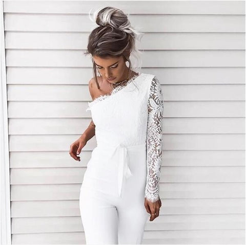 Sexy Lace Jumpsuit Women Summer Autumn One Shoulder Floral Elegant Jumpsuits
