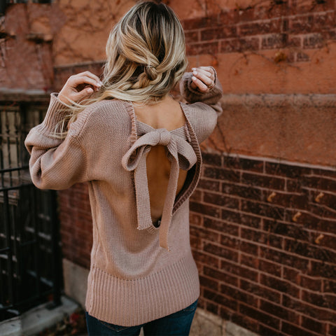 2018 Autumn Winter Sexy Pink Knitwear Backless Bow Tie Sweaters