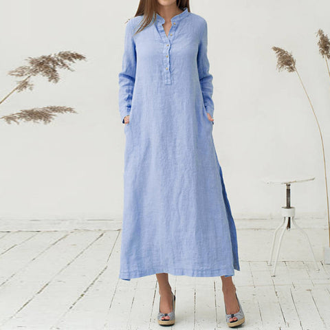 Summer cotton dress oversize v neck Womens Kaftan Causal loose Long Sleeve Split Plain Maxi Dresses