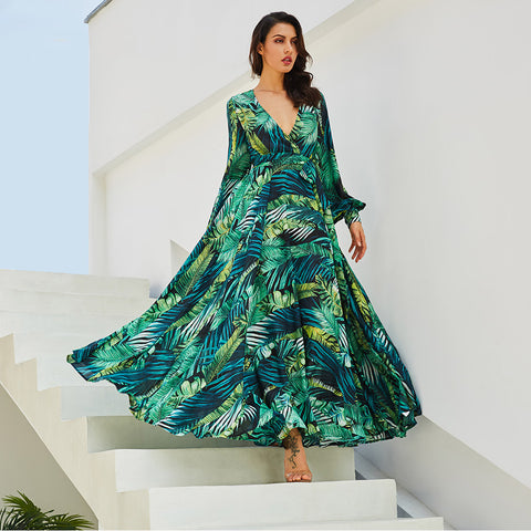 2018 Long Sleeve Maxi Dress Green Dresses