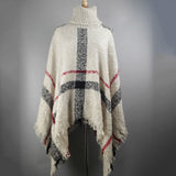 Plus Size Women's Wool Plaid Cardigan Turtleneck Cape Batwing Sleeve Knit Poncho Sweater