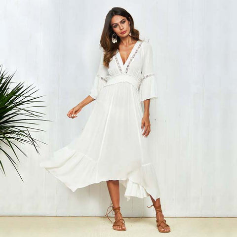 2018 Hot Summer Solid White Cotton Women Flared Sleeve Sexy Deep V-Neck Long Dress