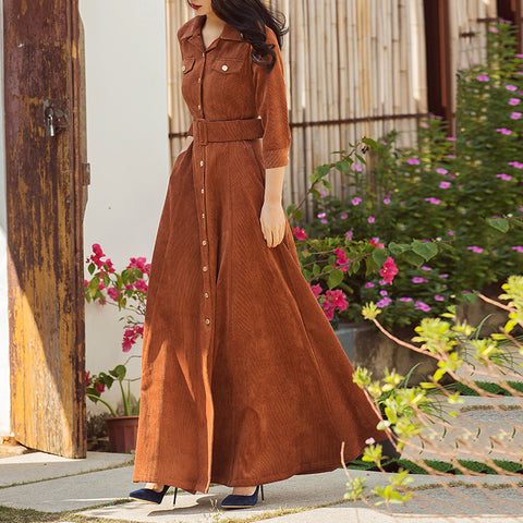2018 Autumn New Dress Three Quarter Sleeve High Waist Vintage Maxi Dress