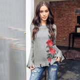 2018 Autumn And Winter Rose Embroidered Thickening Long-Sleeve Sweaters