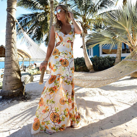 2018 Hot Sale Summer Beach Sleeveless Women Sexy V Neck Stitch Fishtail Chiffon Bohemian Floral Dresses