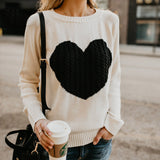 Autumn Winter O-neck Heart Cute Long Sleeve Casual Patchwork Knitting Sweater