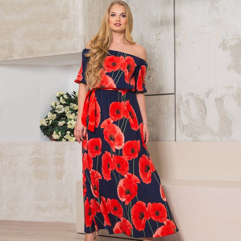 2018 Women Sexy Plus Size Long Floor Length Off Shoulder Maxi Print Dresses
