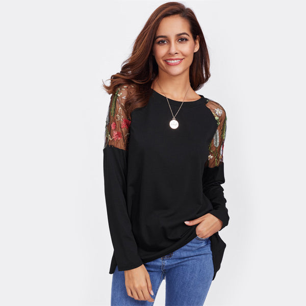 Lace Shoulder Bow Overlap Back Tee Long Sleeve T shirt