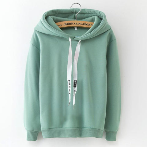 Hoodies Women 2018 Brand Female Long Sleeve Solid Color Hooded Sweatshirt