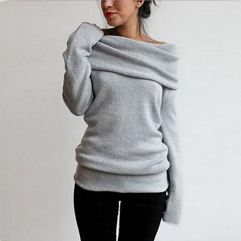 Hot Solid Off-shoulder Long Sleeve Knitted Winter Wool Sweater