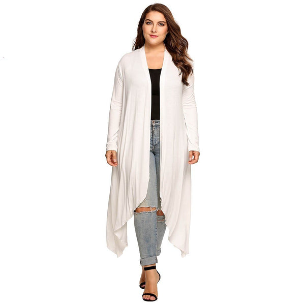 Women Cardigan Jacket Plus Size Autumn Open Front Solid Draped Lady Large Long Sweater
