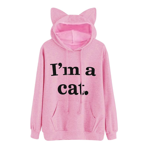 Kawaii Letter Cat Ear Cap Hoodies Women I AM A CAT Print Loose Hooded Sweatshirts
