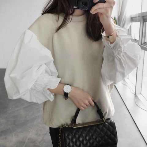 2018 Autumn Fashion New Round Neck Lantern Sleeve Women's Sweatshirt