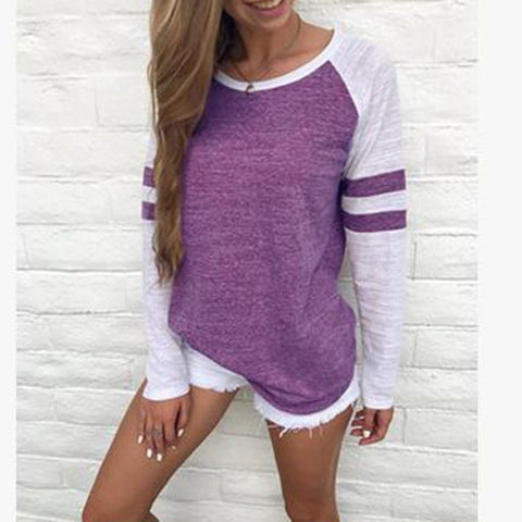 Women Striped Splicing Baseball Tshirt 2018 Spring Autumn O Neck Long Sleeve T Shirt