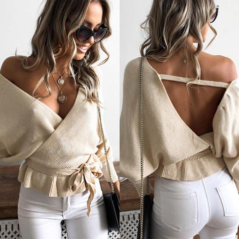 2018 Autumn Winter Casual Long Sleeve  V-Neck Hollow Out Lace Up Backless Sexy Knittied Sweater