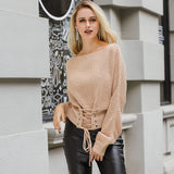 Girl Black Lace Up Knitted Pullover Sweater Women Elastic Long Sleeve Casual Sweater