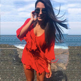 Women Off Shoulder Yellow Sexy Playsuits Women Big Flare Sleeve Lace Up Rompers