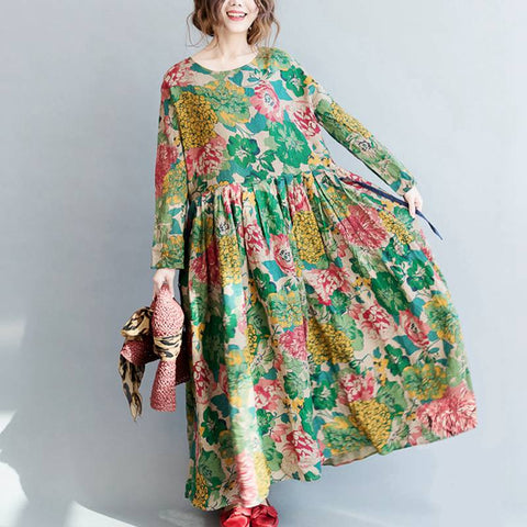 Woman Autumn Summer Floral Dress O Neck Long Sleeve Pleated Elegant Loose Cotton Dress