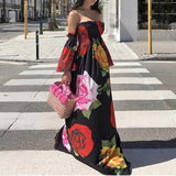 2018 Women Sexy One-Neck Flower Print Off Shoulder Dress