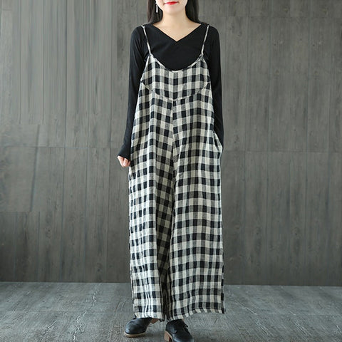 Women Check Plaid Dungaree Jumpsuits Overalls Vintage Strappy Casual Loose Harem Pants Long Trousers