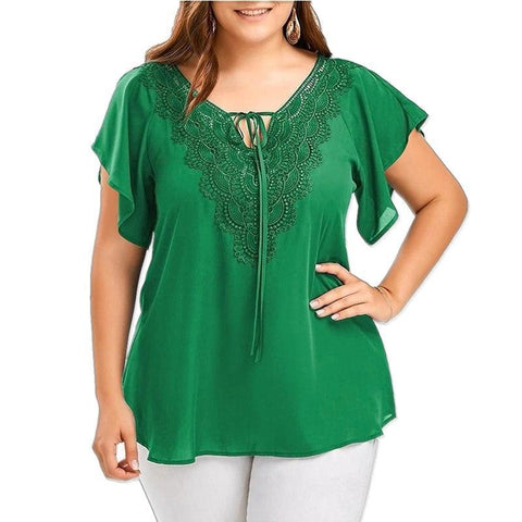 Plus size tops blouse 2018 summer women V-neck casual chiffon blouse