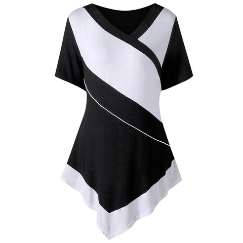 Plus Size White and Black Patchwork Casual T-shirt Women Summer 2018 T Shirt