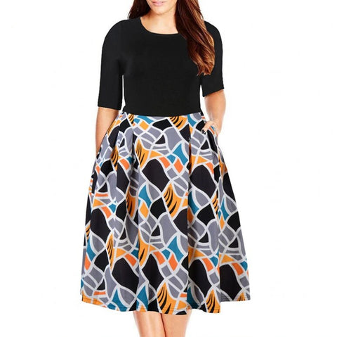 2018 Women Vintage O-neck Half Sleeve Print A-line Dress Plus Size Casual Dress With Pockets
