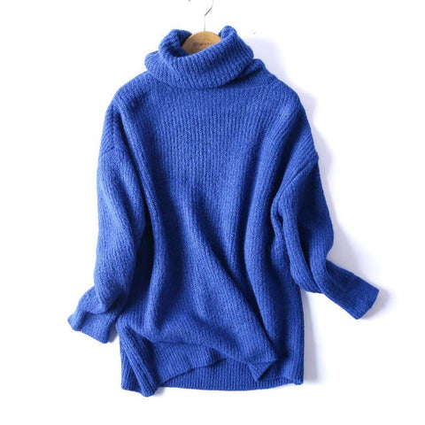 Warm 2018 New Arrival Oversize Basic Knitted Turtleneck Solid Sweater