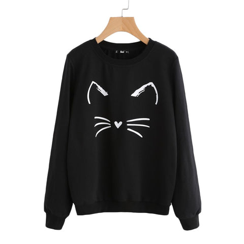 Cartoon Cat Print Sweatshirt Long Sleeve Casual Women Sweatshirt