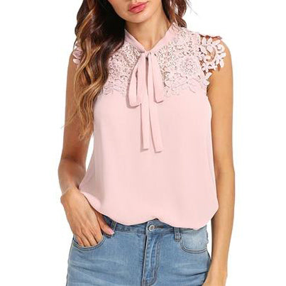 Pink Lace Applique Tied Neck Bow Top Women Stand Collar Sleeveless Plain Blouse