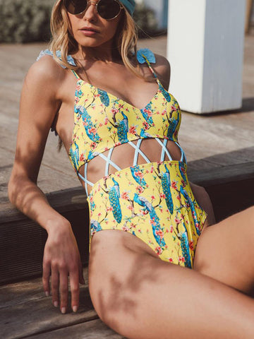 2018 Sexy Hollow Out Swimwear Women One Piece Swimsuit