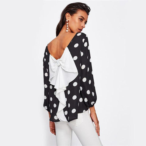 Black and White Boat Neck Casual Tops Office Ladies Long Sleeve Bow Blouse