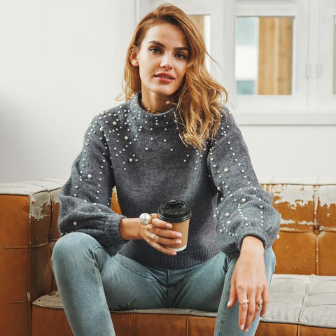 Pearl turtleneck winter loose soft knitted sweater