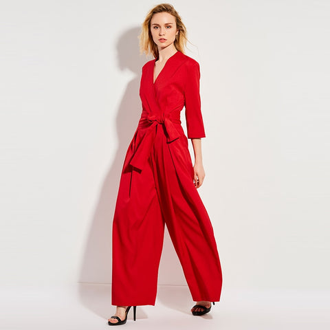 Casual Jumpsuit High Waist Full Length Pleated Patchwork Party Beach Elegant Loose Jumpsuit