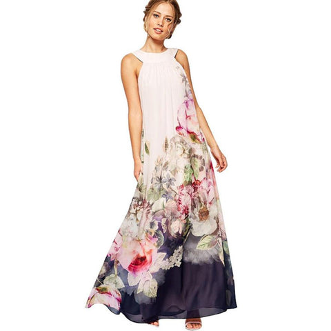Summer Chiffon Maxi Dress Women Fashion Sleeveless Floral Printed Party Dresses