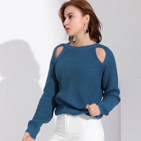 2018 Winter Long Sleeve Off Shoulder Oversize Pullovers Knitted Sweater