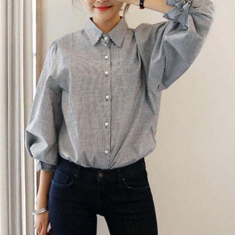 2018 New Fashion Striped Lantern Sleeve Turn-down Collar Bow Long sleeve Blouse