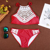 2018 Summer Women Sexy Bikini Set Lace Halter Swimsuit Beachwear Bathing Suit Brazilian Biquinis