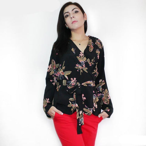 V-Neck Printed Floral Blouses Women Sashes Long Sleeve Blouse Shirts