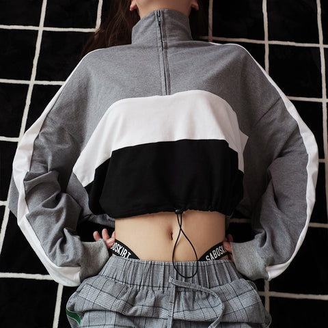 Sexy Cropped Turtleneck Sweatshirt for Women Patchwork Long-sleeved Hoodies