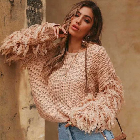 2018 Fashion Tassel Flare Sleeve Loose Knitted Sweater