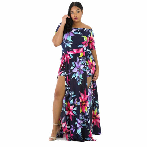 Woman Sexy Dress Off Shoulder Floral Party Short Sleeve Bodycon Bohemian Plus Size Dress