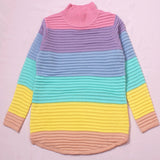 2018 Spring Autumn New Fashion Pullover Urtleneck Rainbow Sweater Maccaron Stripes Loose Sweater