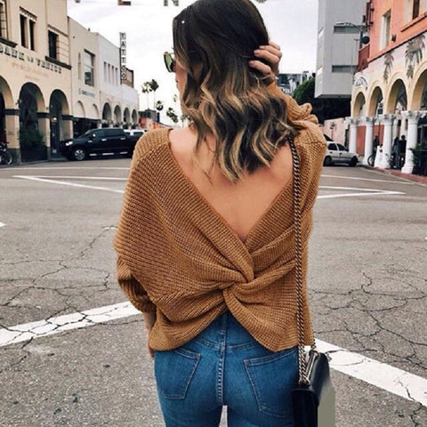 Long Sleeve Cross Tie Knot Knitted V-neck Backless Sexy Sweaters