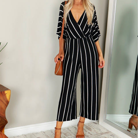 2018 Summer Elegant Women Striped Jumpsuits Casual Loose Deep V-neck Short Sleeve Loose Rompers