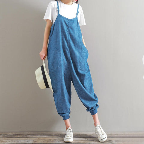 Womens Jumpsuit 2018 Summer Overalls Casual Loose Sleeveless Backless Bottoms Pants